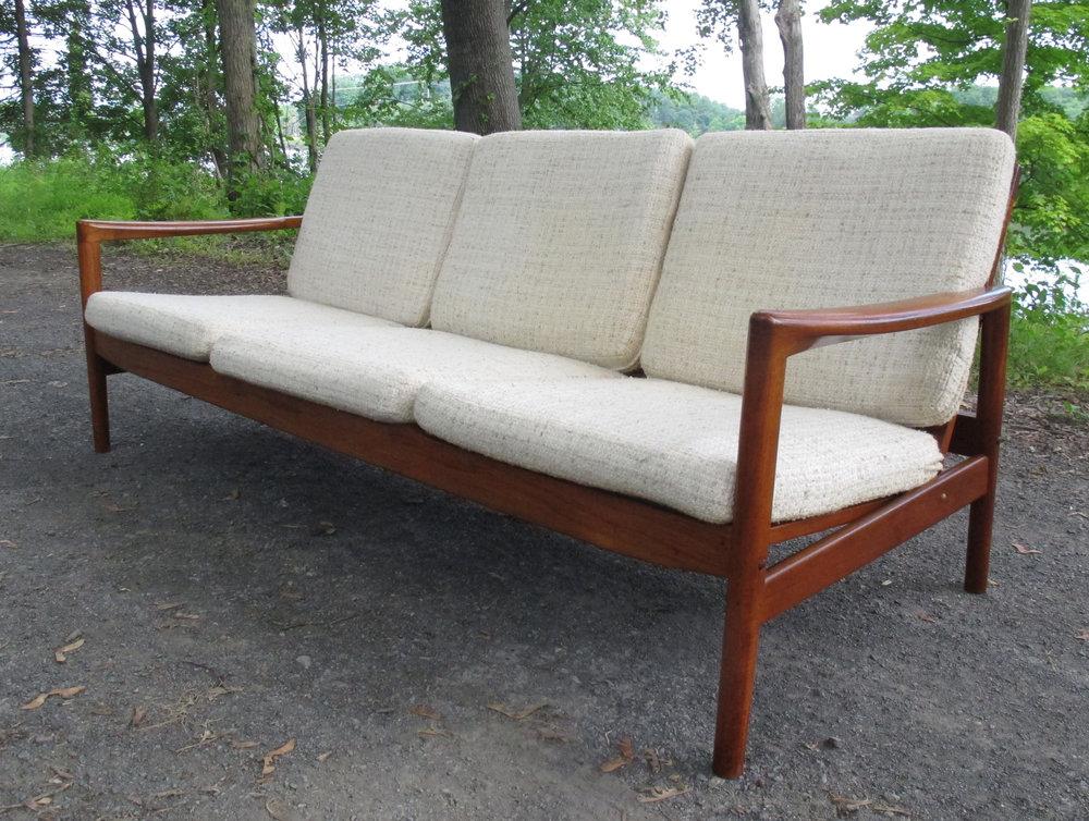 DANISH MODERN THREE SEAT SLAT BACK SOFA
