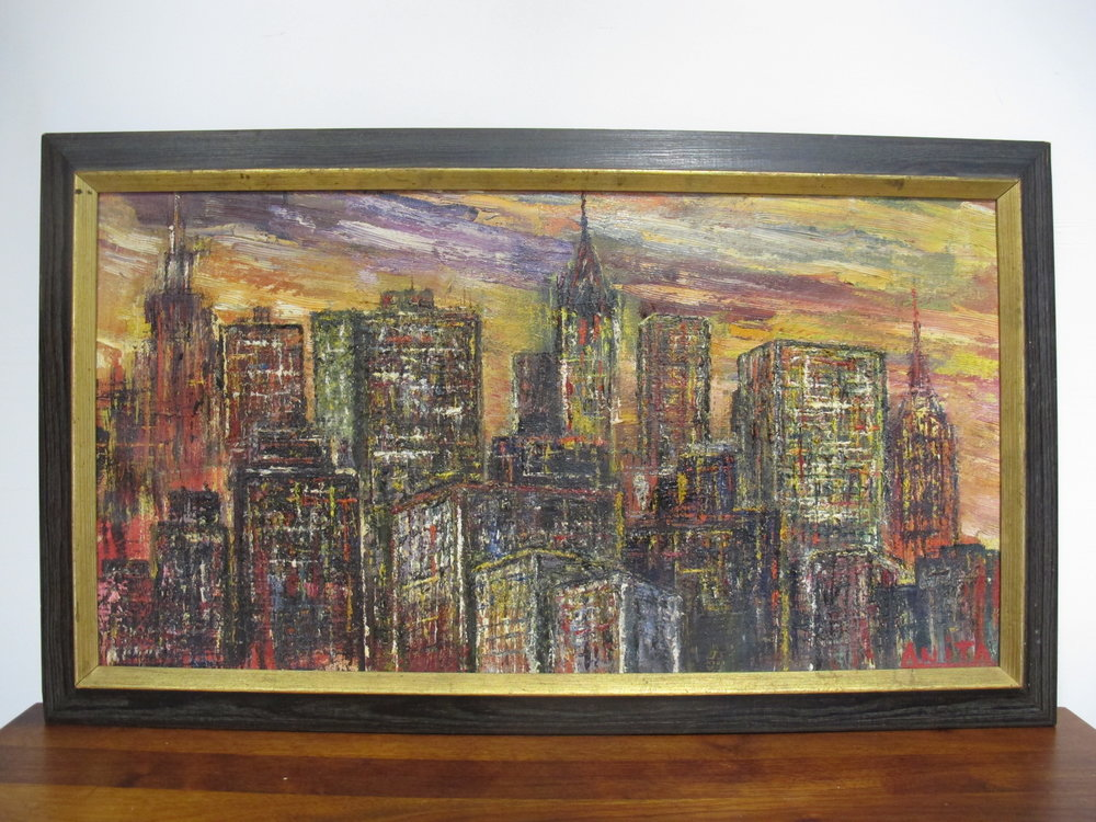 MID CENTURY OIL CITYSCAPE OF MANHATTAN