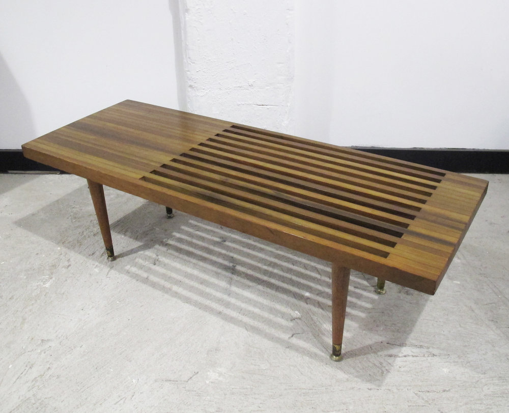 MEL SMILOW STYLE MID CENTURY SLAT BENCH COFFEE TABLE