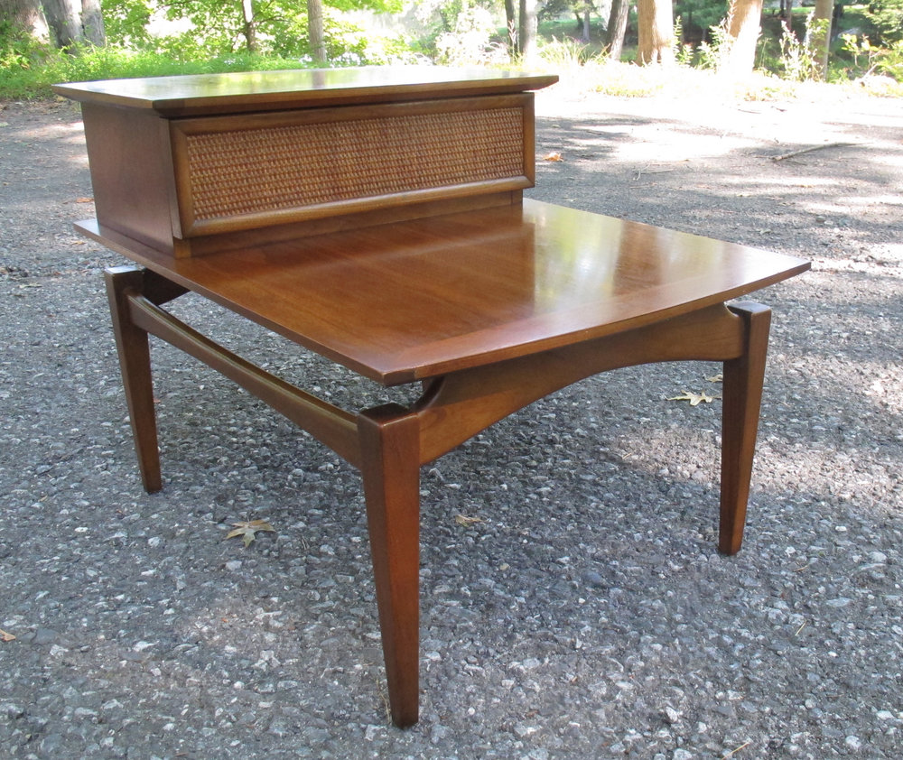 MID CENTURY WALNUT FLOATING STEP END TABLE BY LANE