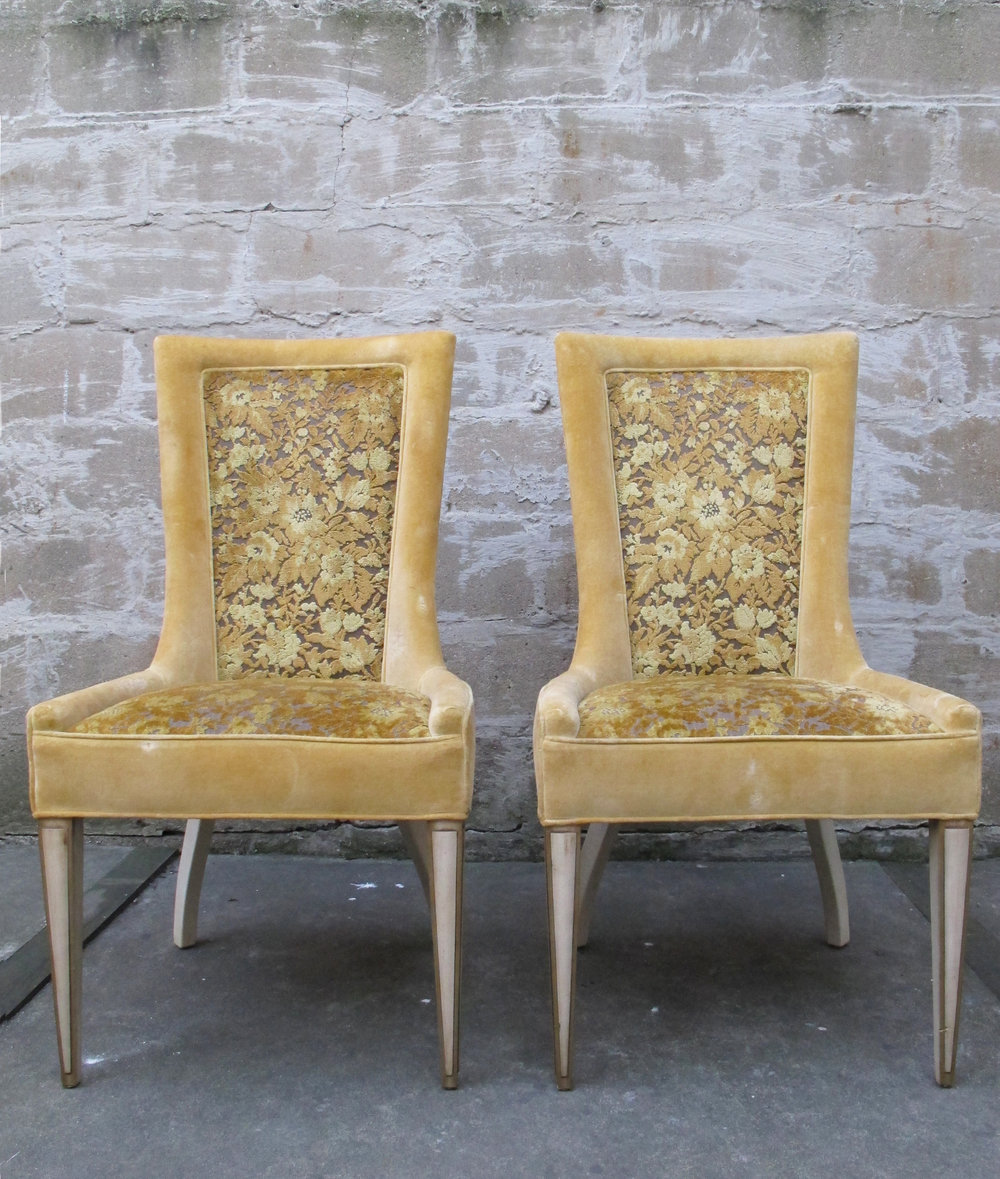 PAIR OF MID CENTURY HIGH BACK ACCENT CHAIRS