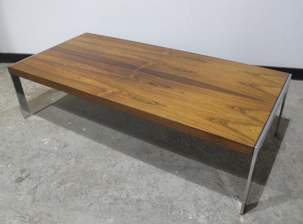 MILO BAUGHMAN STYLE ROSEWOOD & CHROME COFFEE TABLE