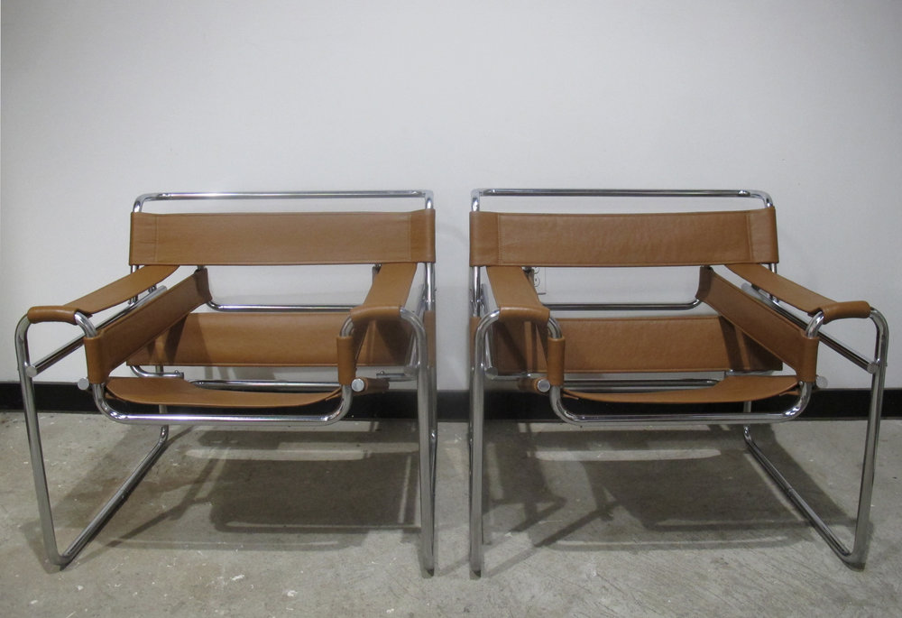 PAIR OF MARCEL BREUER LEATHER WASSILY CHAIRS