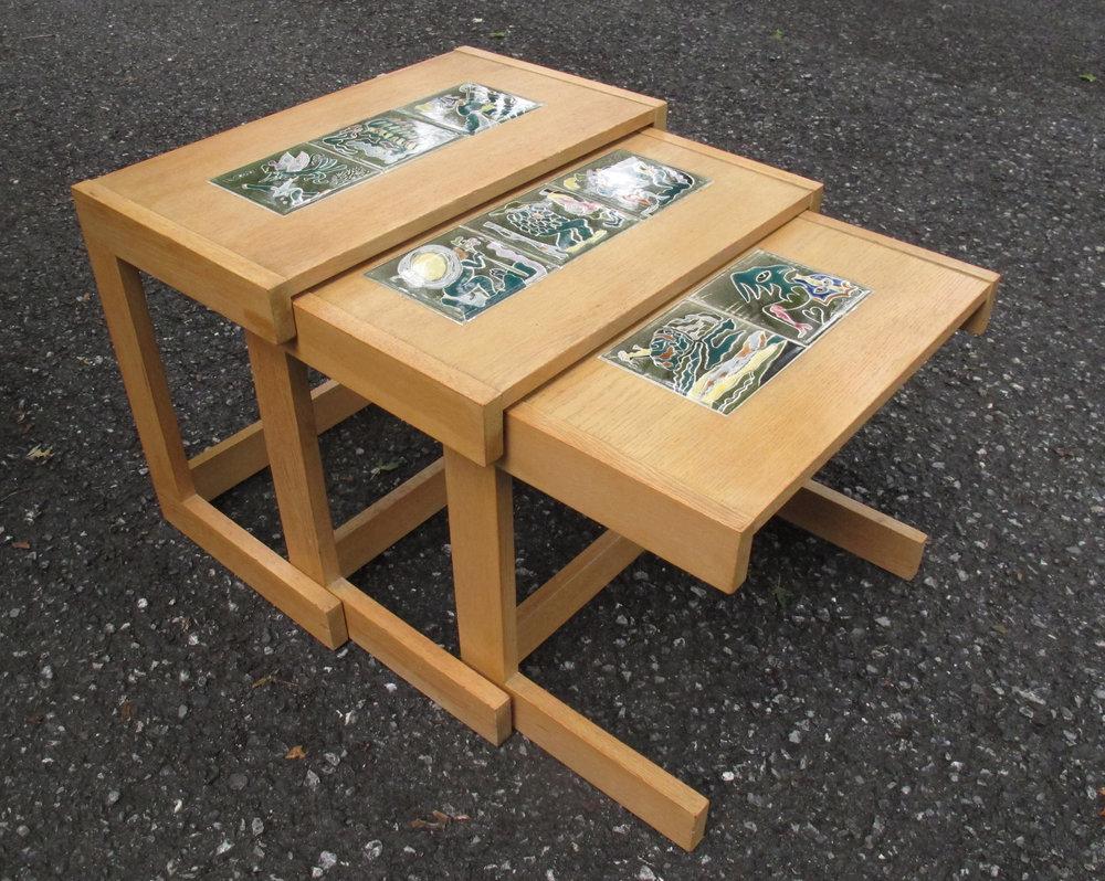 SET OF OAK & CERAMIC NESTING TABLES BY VLADIMIR KAGAN