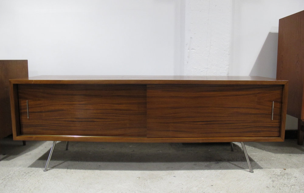 MID CENTURY WOOD & NICKEL ENTERTAINMENT UNIT BY MITCHELL GOLD & BOB WILLIAMS