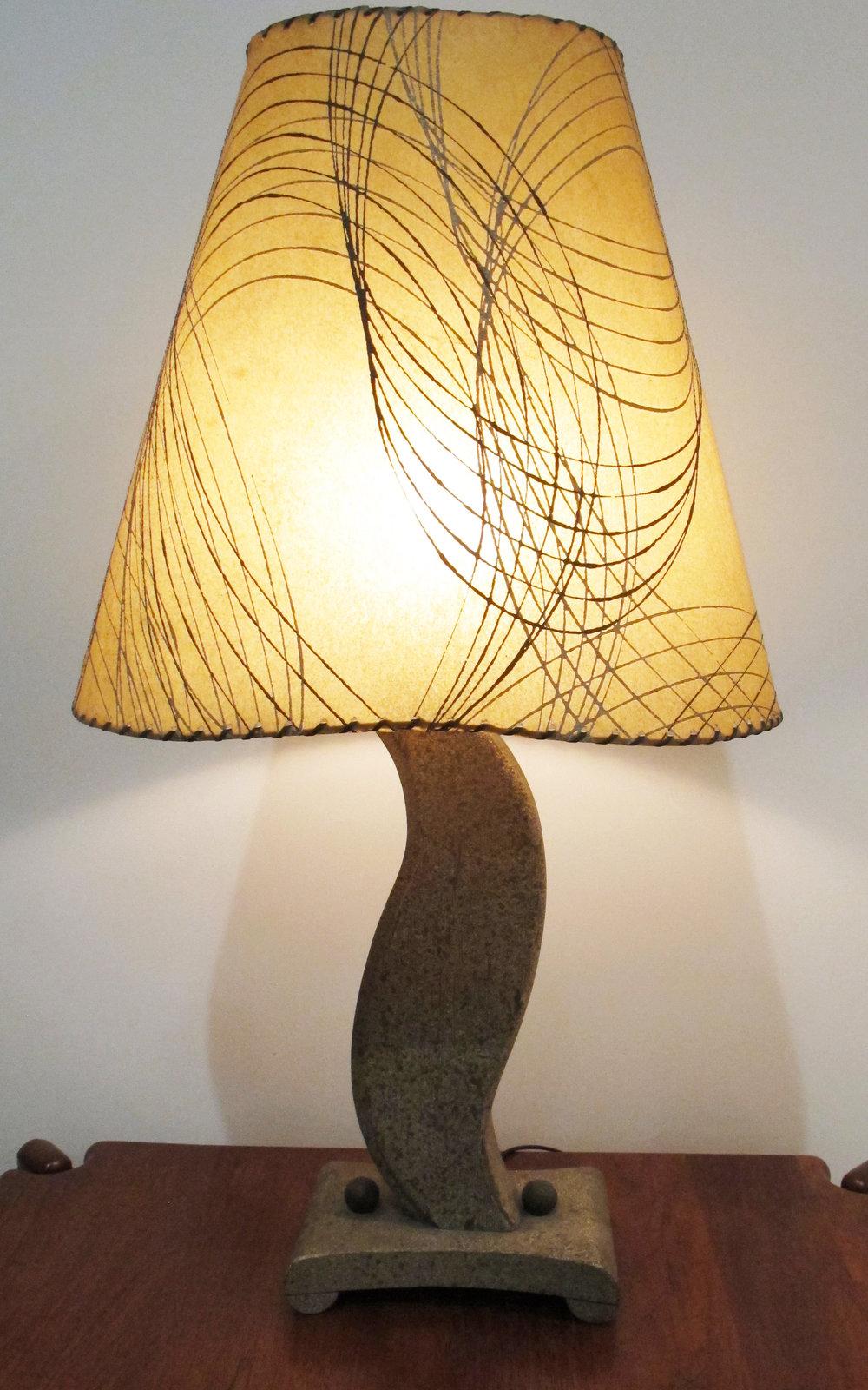 MID CENTURY UNDULATING WOOD LAMP WITH FIBERGLASS SHADE