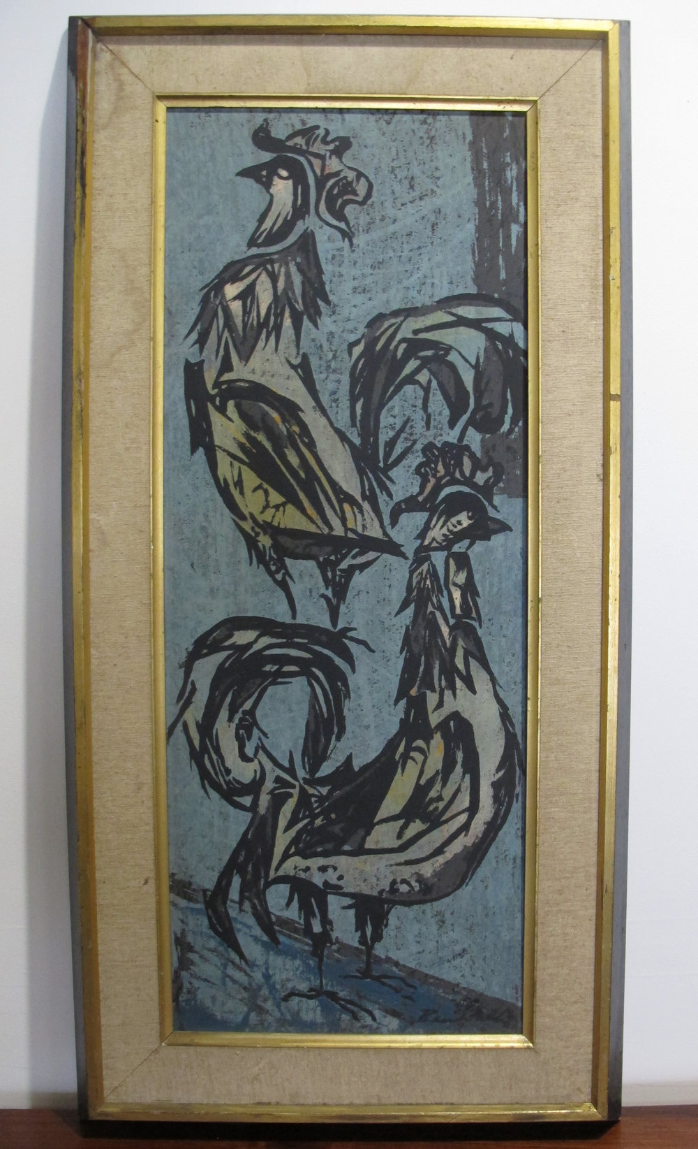 MID CENTURY FRAMED PAINTING OF ROOSTERS