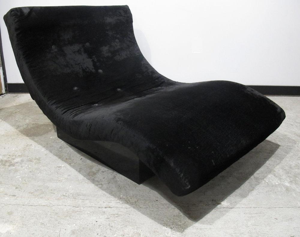 ADRIAN PEARSALL STYLE BLACK VELVET WAVE LOUNGE CHAIR