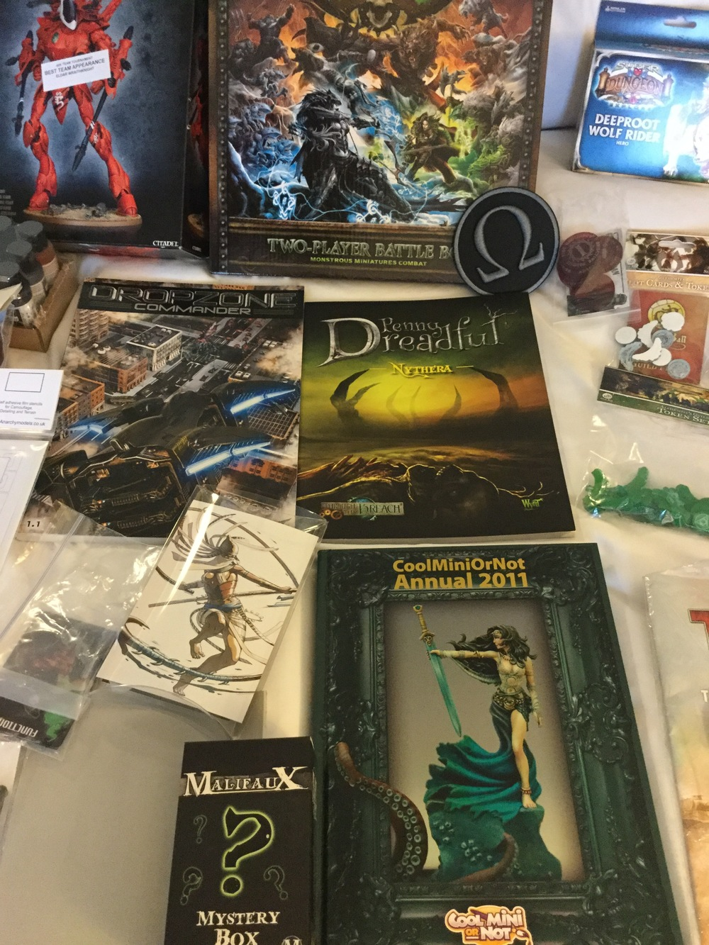 Some of what was in the swag bag. Minus the Super Dungeon Explore, Guild Ball and WraithKnight.