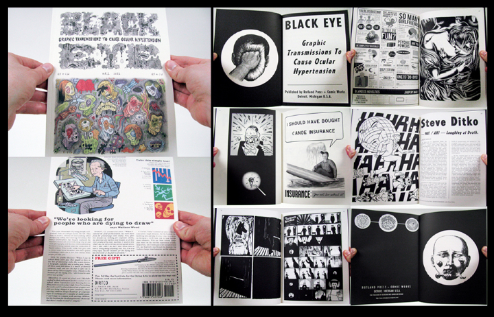 "An anthology focused on the expression of  black, dark or absurdist humor. With comics and art by Stéphane  Blanquet, Ivan Brunetti, Lilli Carré, Max Clotfelter, Al Columbia,  Ludovic Debeurme, Olivier Deprez, Nikki DeSautelle, Brecht Evens, Andy  Gabrysiak, Robert Goodin, Dav Guedin, Gnot Guedin, Glenn Head, Danny  Hellman, Paul Hornschemeier, Ian Huebert, Kaz, Michael Kupperman,  Mats!?, Fanny Michaëlis, James Moore, Tom Neely, Mark Newgarden, Paul  Nudd, Onsmith, Emelie Östergren, Paul Paetzel, David Paleo, Martin  Rowson, Olivier Schrauwen, Stephen Schudlich, Robert Sikoryak, Ryan  Standfest, Brecht Vandenbroucke, Wouter Vanhaelemeesch and Jon  Vermilyea. Original essays by Jeet Heer (on S. Clay Wilson), Bob Levin  (on  The Adventures of Phoebe Zeit-Geist ), Ken Parille (on Steve Ditko)  and Ryan Standfest (on Al Feldstein and EC). Also includes the text  100 Good Reasons to Kill Myself Right Now  by Roland Topor, translated  into English for the first time by Edward Gauvin. Print run is limited  to 1000 copies.  ""It has a good feel."" —David Lynch, filmmaker and artist.  Nominated for the 2011 Ignatz Award in the ""Outstanding Anthology or Collection"" category.  softcover / 112 pages / black and white / 10.25 x 7.75 in. / edited and  designed by Ryan Standfest / 2011"