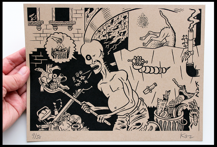 "A limited edition hand-pulled silkscreen print by Kaz depicting a typical urban slum setting. Signed and numbered in graphite by the artist. Printed on the occasion of the ROTLAND Exposition ""CHASING POSADA! (A Macabre Populist in the City),"" held at Signal-Return Printshop in Detroit.  edition of 50 / printed in black on ""kraft-colored"" sturdy stock from the French Paper Co. / 11 x 8.5 inches / 2014"