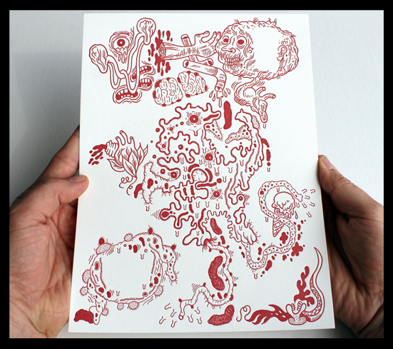"A limited edition letterpress print by Chicago duo Onsmith + Nudd, specially created to accompany the publication of ""BLACK EYE 1."" Signed and numbered in graphite on the reverse side of the print by the artists.  edition of 140 / printed in red on an off-white, sturdy stock / 10.25 x 7.75 inches / 2011"