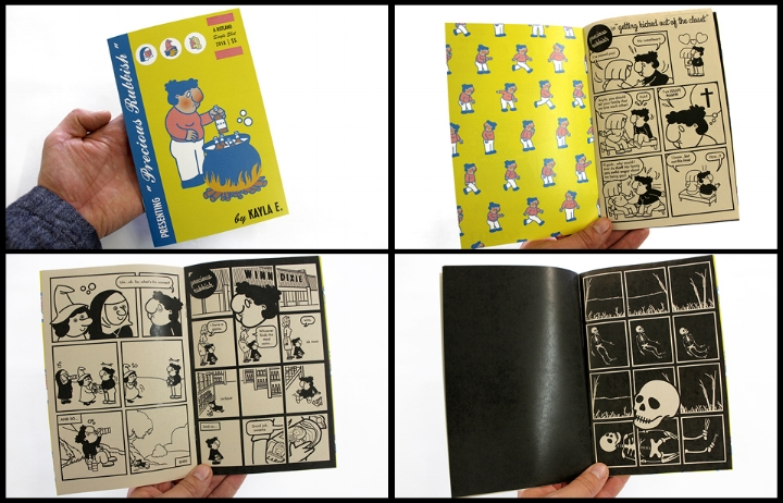 "A Rotland Single-Shot: Precious Rubbish   Presenting a series of hybrid gag panels and short prose, modeled after mid-century children's comics like  Casper ,  Little Dot , and  Little Lulu , starring ""Kayla,"" a character whose blank expression never changes. This series is rooted in reclamation, as the author takes historically sexist and racist gag comics and interjects her own experience into the medium. By confronting dark themes—homophobia, the problem of evil, alcoholism, poverty, racism, aging parents, death—in this slapstick, silly context, the heavy moments become more potent, starker, and more shocking.  Kayla E. is a queer latina artist, designer, editor, and public speaker. She is the creative force behind Design Altar and serves as Editor-in-Chief and Art Director of Nat. Brut. Her artistic practice centers around ""Kayla,"" a self-portrait character, and is an exercise in the reappropriation of vintage children's comics. She lives in Durham, NC with her partner and three animal daughters.  stapled / 16 pages / black and white on tan paper / 5 x 8 inches / written and illustrated by Kayla E. / 2018"