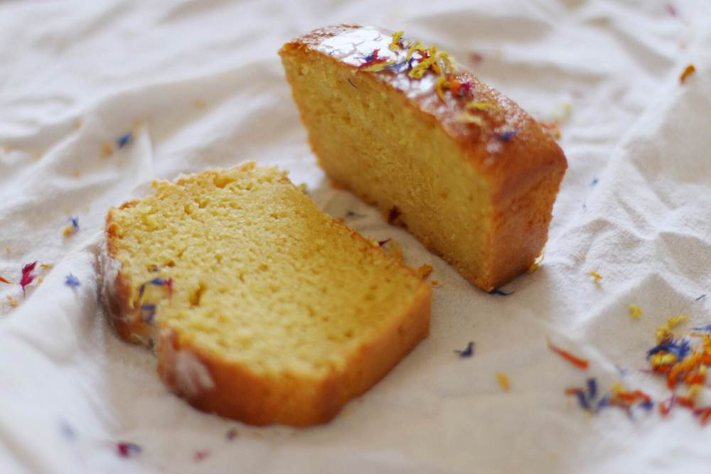 lemon loaf with flower garnish