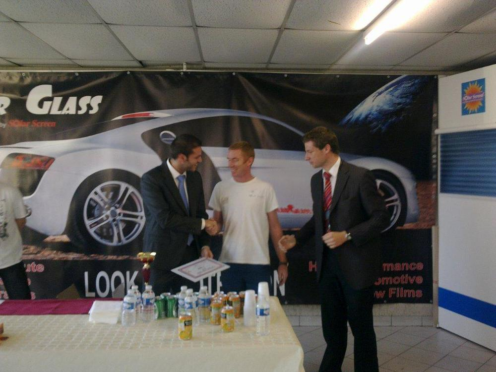 Ian, Solar Shade Trainer receiving 1st place European Tint Champion 2012 in Paris
