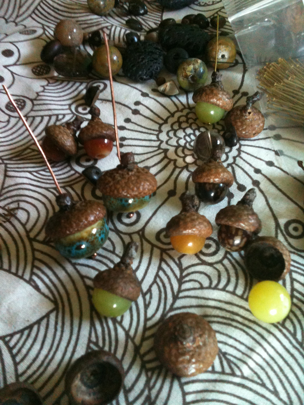 Putting together acorn earrings