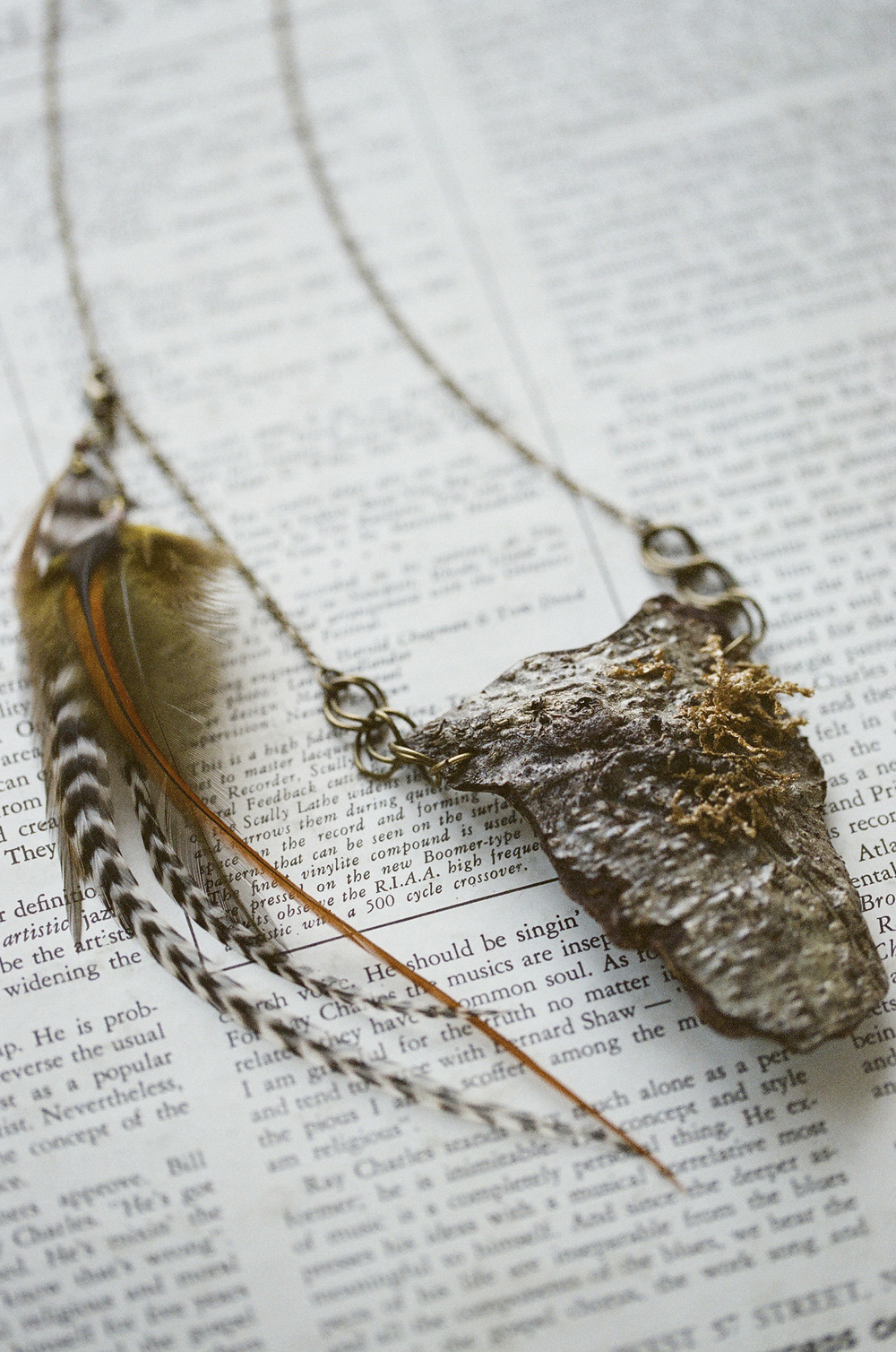 Bark and feather necklace