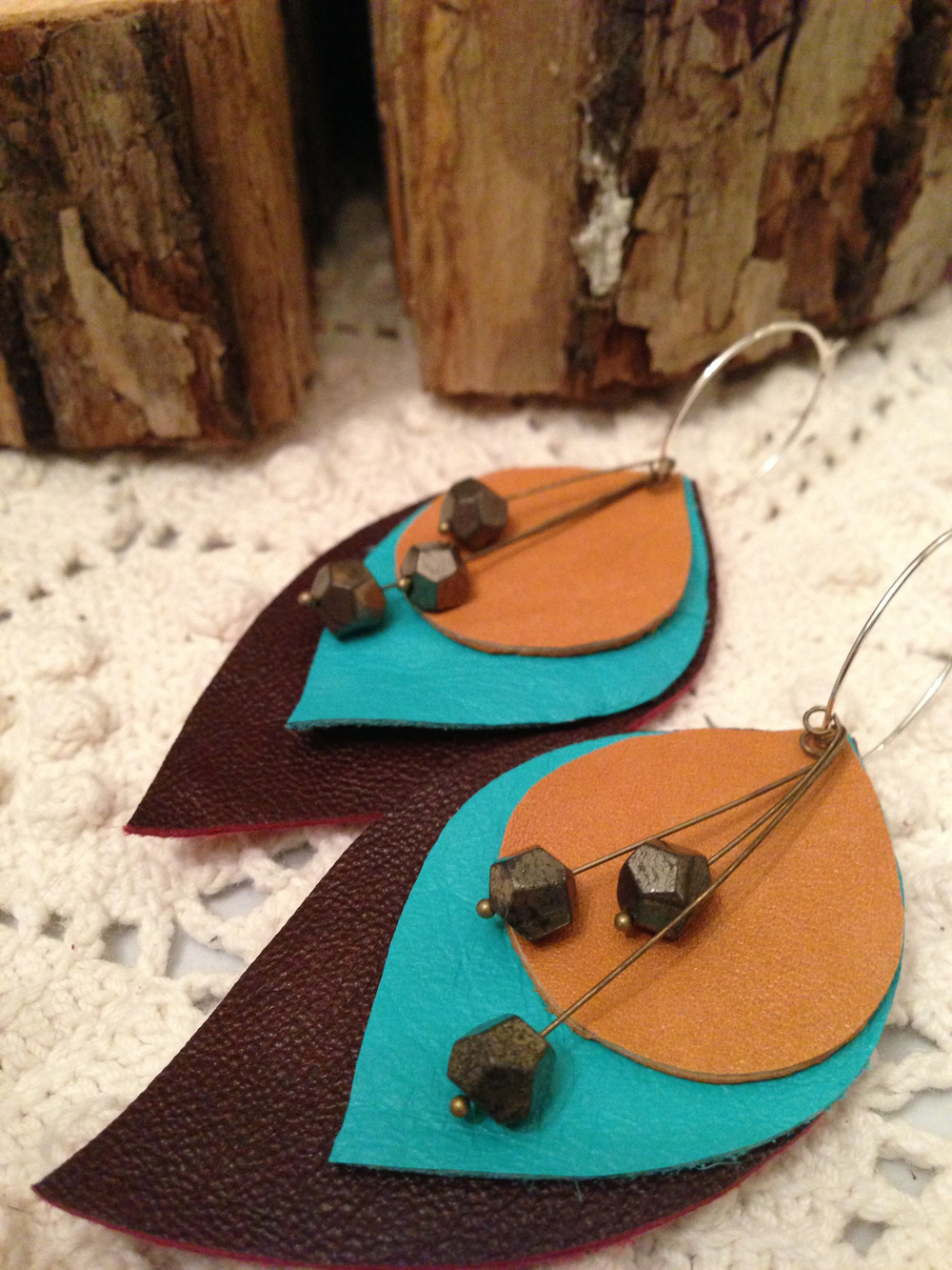 leather and pyrite earrings