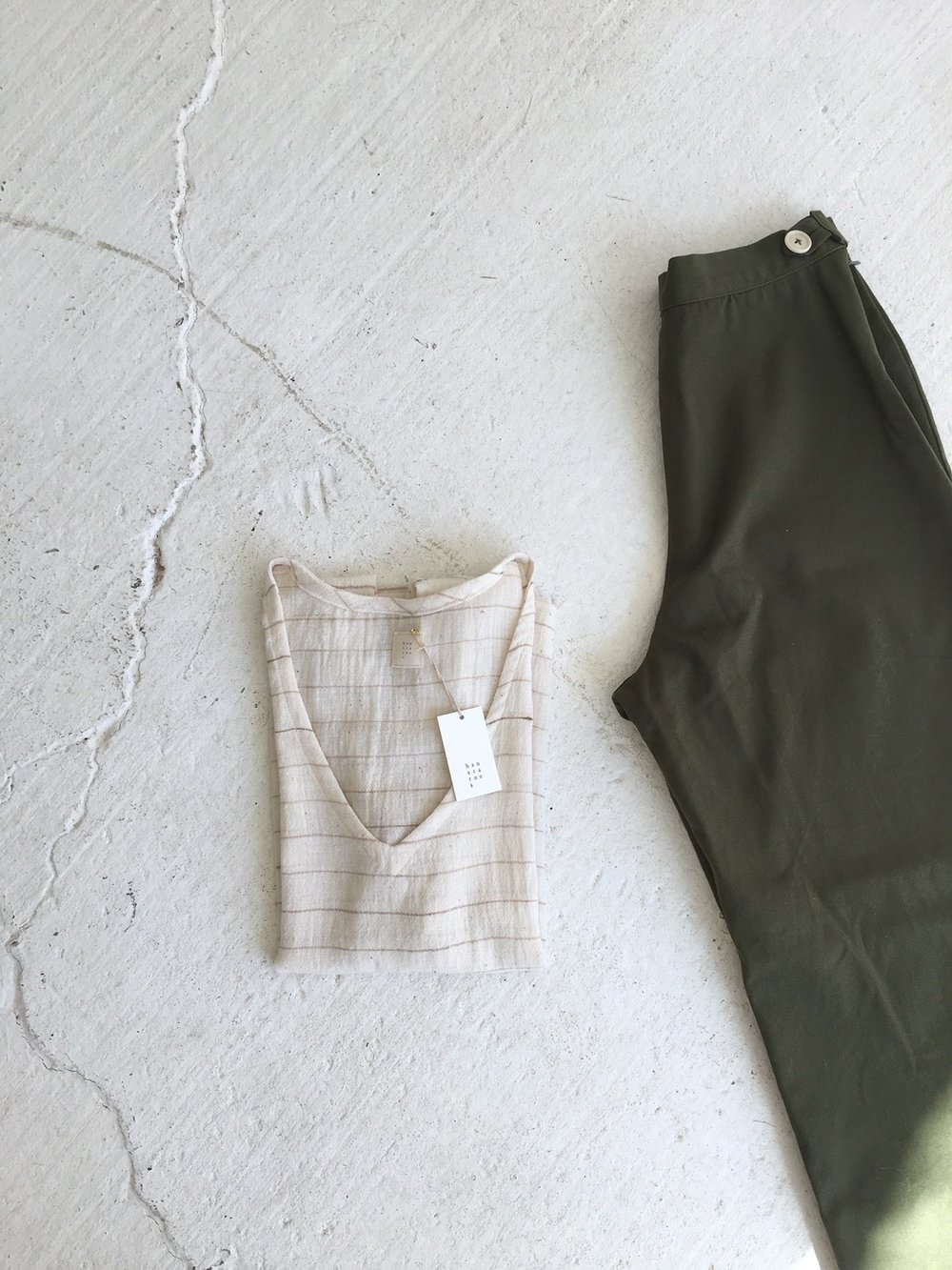 gold stripe v top, summer trousers in olive