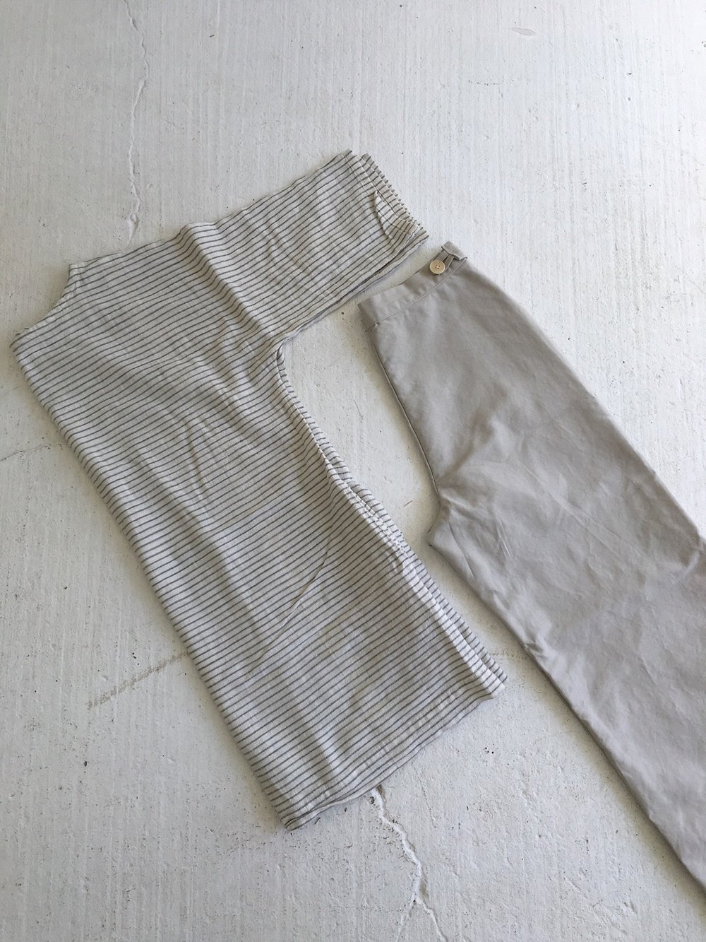 gray stripe tunic, summer trousers in cloud