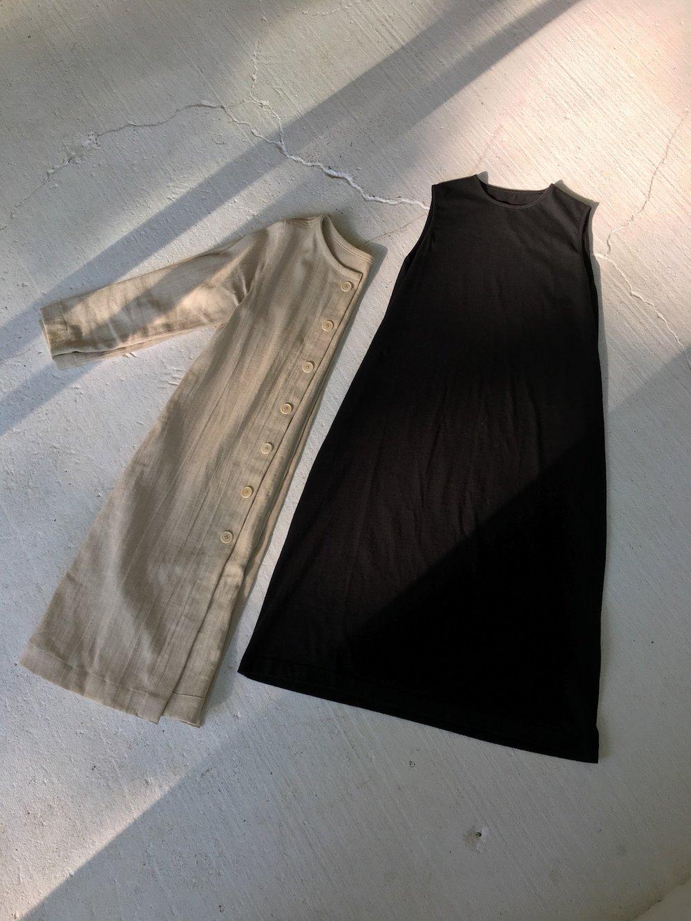 color grown jacket, jersey tank dress in black