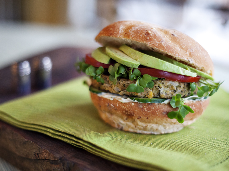 Chickpea & Broccoli Burgers with Spicy Lime Aioli