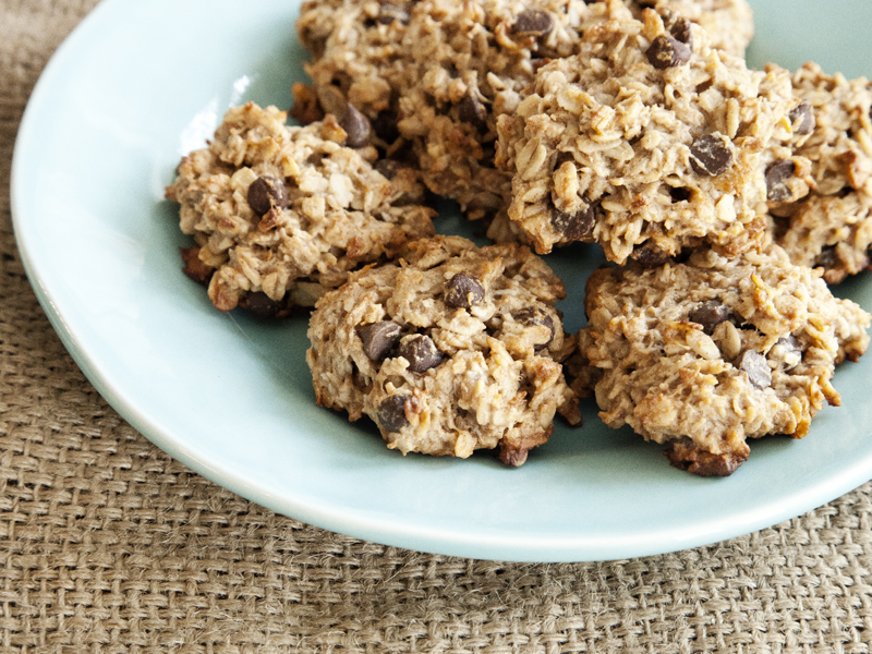 Peanut Butter Banana and Carob Chip Cookies