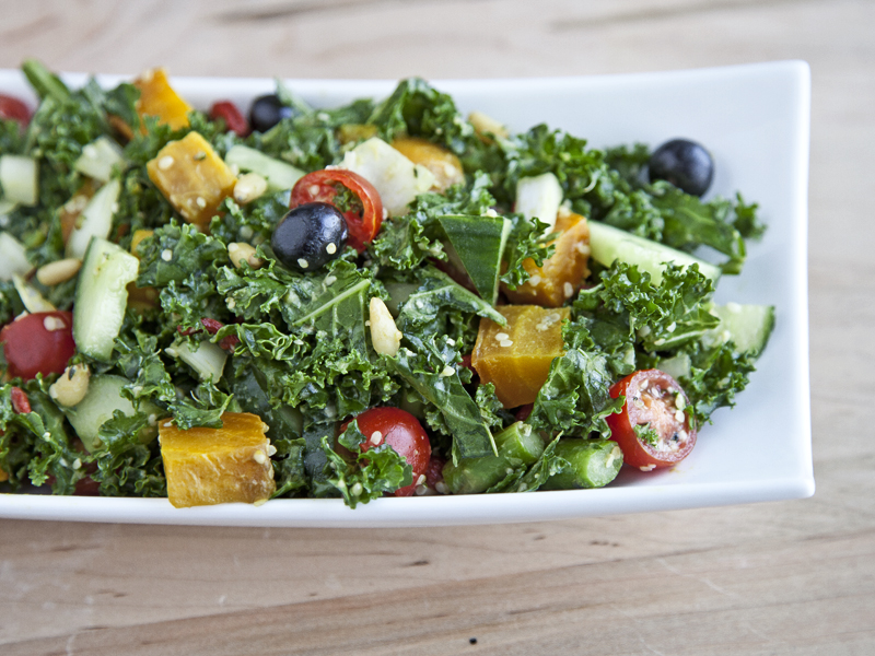 Massaged Kale Salad with Golden Beets and Asparagus