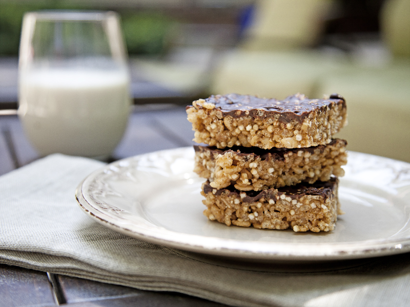 Chocolate Hazelnut Crispy Rice & Quinoa Squares