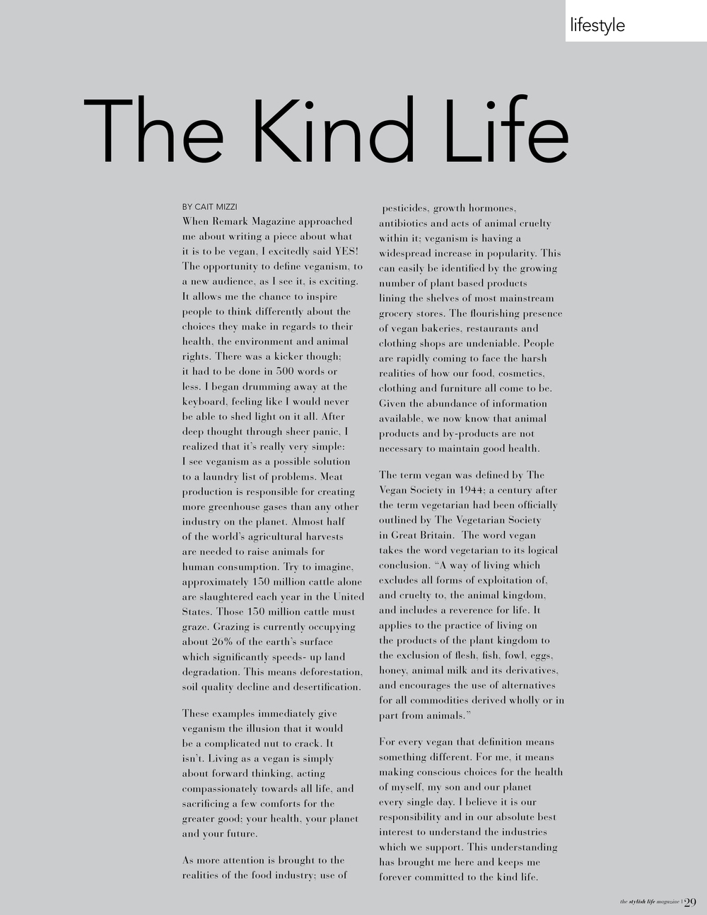 The Kind Life - Remark Magazine Fall 2013