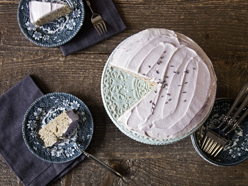 Lemon Poppy Seed Cake with Lavender Frosting