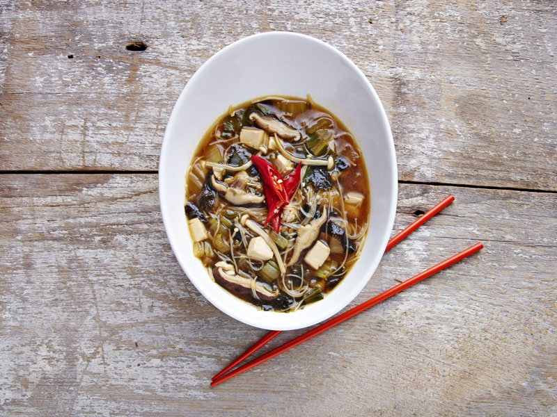 Asian Style Soup with Mixed Mushrooms & Vegetables