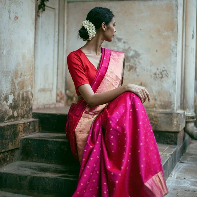 Pink . . (From @via_east Lore campaign) Makeup - @romithokchom . . #viaeast #saree #indianwear #ethnicwear #india #elegant #chanderi #chanderisaree #diwali #traditional #fashionindia #indianbride #brides #festive #indianfestivities #indian #women #ethnicwoman #bangalore #handcrafted #fashion #ethnicfashion #photographer #portrait #classicportrait