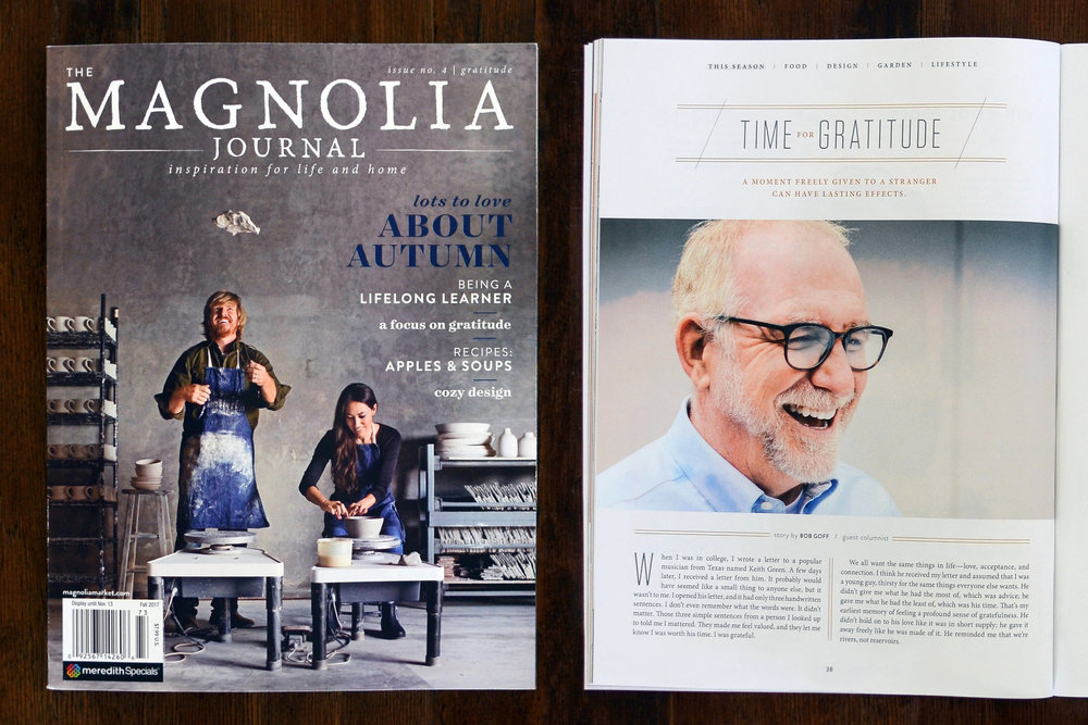 "Goff, Bob. ""Time for Gratitude."" The Magnolia Journal. Fall 2017: 38-39. Print."