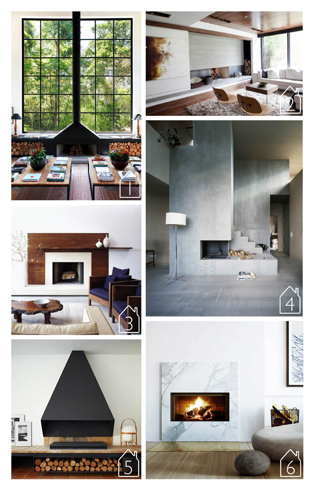 1. Brazilian villa fireplace designed by  Ourico Architecture  via  Apartment Therapy   2. Family room fireplace by  Capoferro  via  Houzz   3. West chelsea loft design by  Amy Lau Design   4. House Muller Gritsch design by  AFGH  via  ArchDaily   5. Spanish apartment by  Francesc Rife  via  homedit   6. Karlavagen 76 (Oscar Properties) via  Husligheter