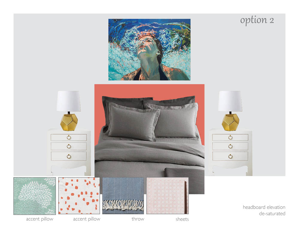 Painting by  Samantha French , lamps by  Land of Nod , bedding by  Restoration Hardware , sheets and throw by  Serena and Lily , fabrics by  Quadrille , nightstands by  Bungalow 5