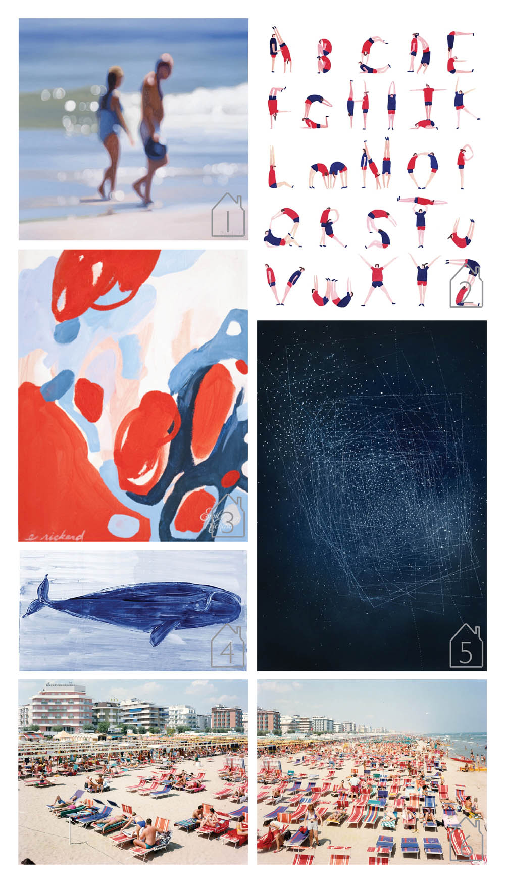 1. Finale, 2008, oil on canvas, Philip Barlow image via Johns Borman  2. Illustrated Alphabet inspired by the London Olympics 2012, Charlotte Trounce  3. Color Study No.5, 2012, acrylic on canvas, Emily Rickard  4. Right, mixed media, Madeline and Robert Longstreet image via One Kings Lane   5. Emma McNally  6. Massimo Vitali