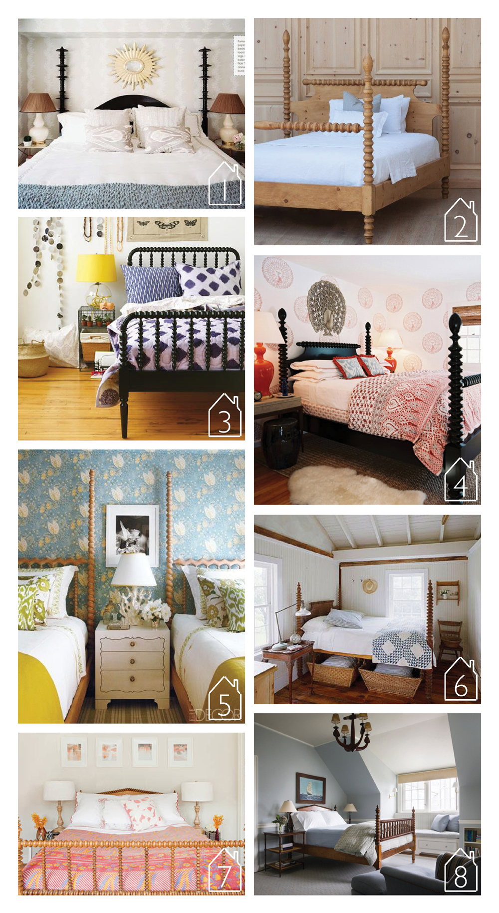 1. Noir Trading Ferret Bed via Lonny   2. Gwendoline Spindle Bed by Bradshaw Kirchofer Handmade Furniture  3. Jenny Lind Bed by Land of Nod  4. Room by Tilton Fenwick  5. Via Elle Decor  6. Via Better Homes and Gardens  7. Beach Cottage by Sarah Scales  8. House on Martha's Vineyard by Ferguson & Shamamian