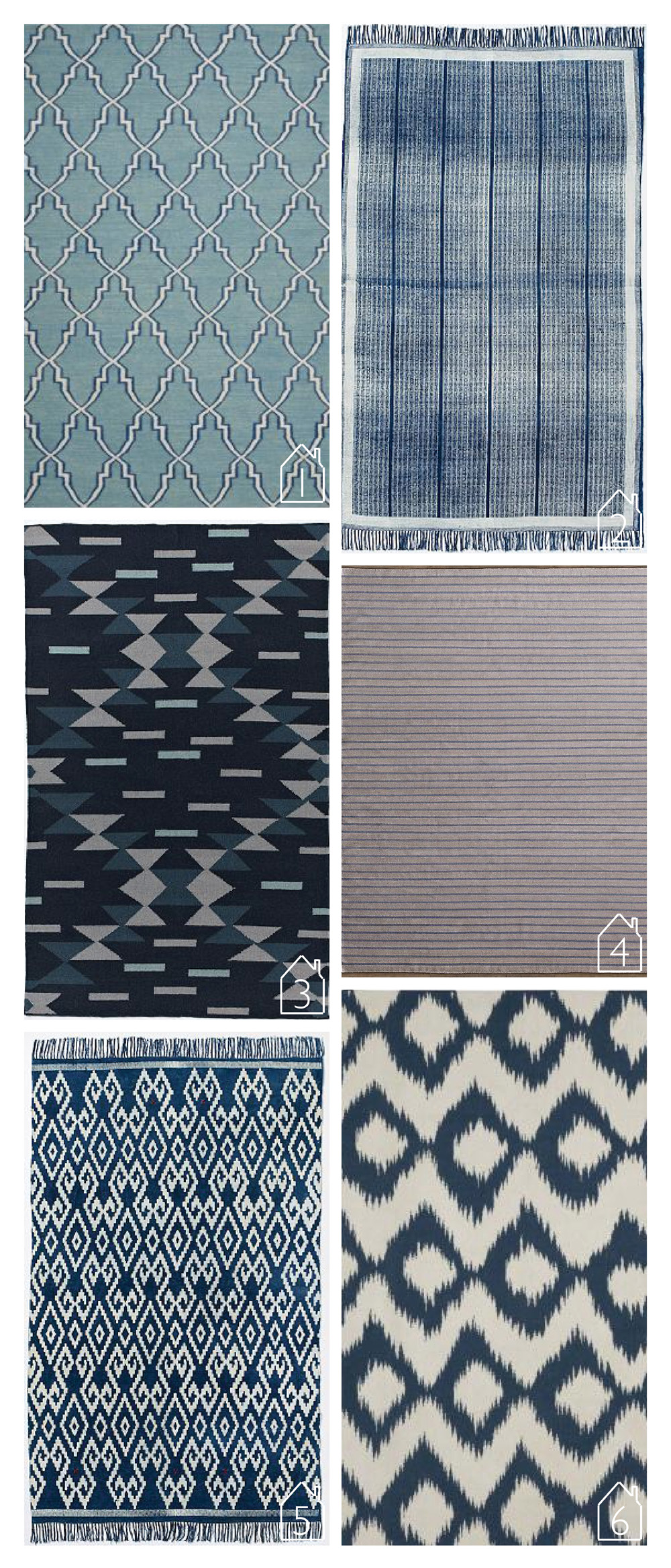 1. Curacao rug, island blue by  Lulu & Georgia   2. Indigo Rail Cotton Dhurrie by  West Elm   3. MIAC Dragonfly Wool Dhurrie by  West Elm   4. Dalton Stripped Flatweave Rug by  RH baby & child   5. Indigo Geo Cotton Dhurrie by  West Elm   6. Zeno Rug, Deep Navy by  Lulu & Georgia