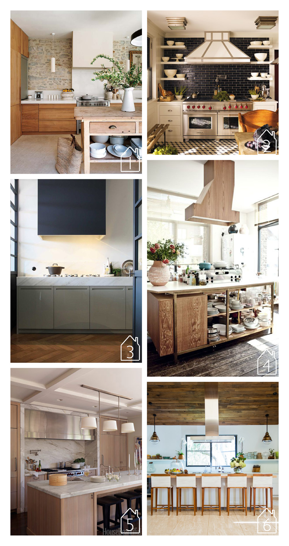 1. via Design by Delight original published in Canadian House & Home and Nuevo Estilo  2. via Canadian House & Home - photo by Eric Piasecki - design by Steven Gambrel  3. by Arian Lodder Keukens Interieur  4. design by Muriel Frances - photo by Louise Desrosiers via Milk   5. design by William Hefner - photo by Thomas Loof  via House Beautiful  6. home of Jenni Kayne via Lonny