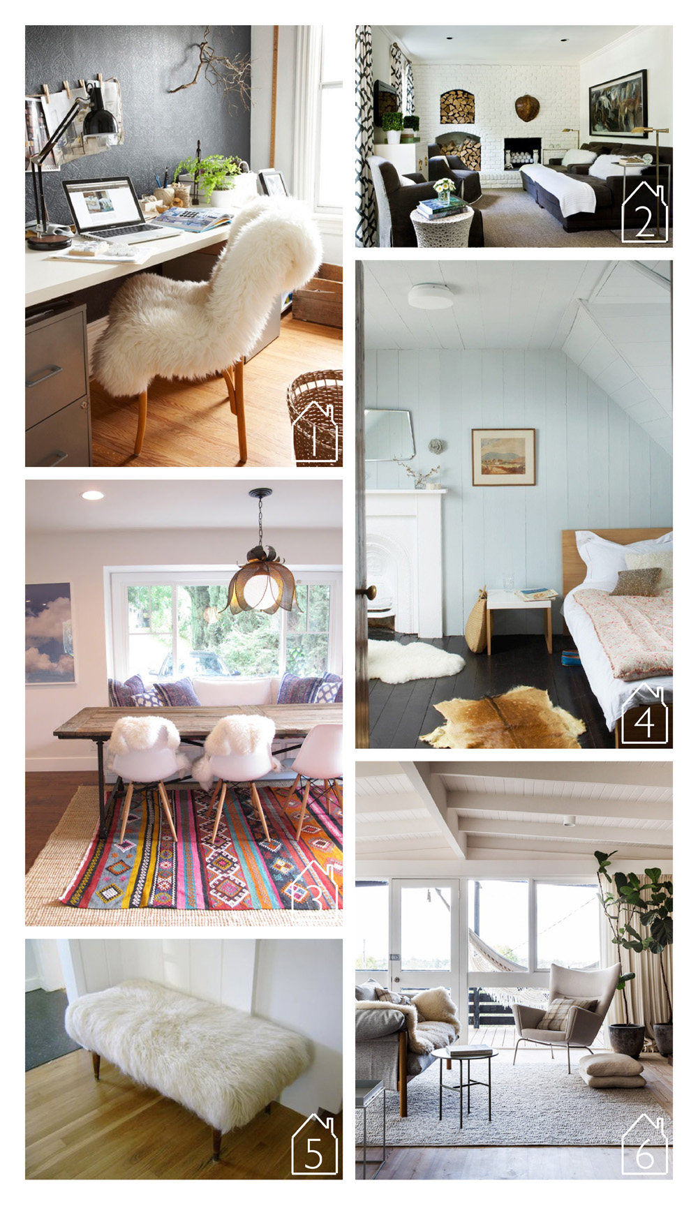 1. source unknown  2. Melanie Turner Interiors  3. Amber Interiors  4. source unknown  5. The Brick House  6. via The Design Files Daily home of Simone and Rhys Haag