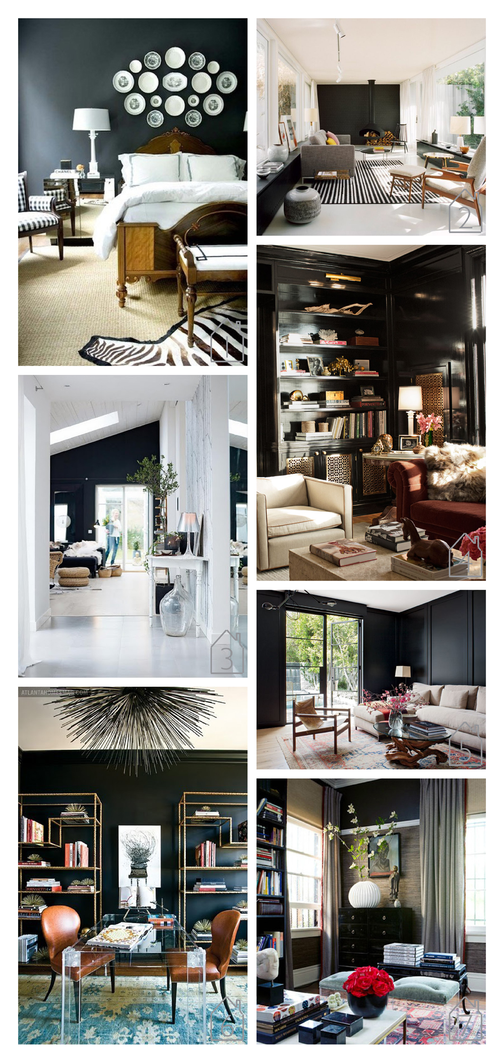 1. source unknown  2. via urdesign by bfs design  3. source unknown  4. via ELLE home of Sasha Adler  5. via Architectural Digest home of Jenni Kayne  6. via The Peak of Tres Chic original published in Atlanta Homes and Lifestyles 7. via small shop blog design by Gabriel Hendifar