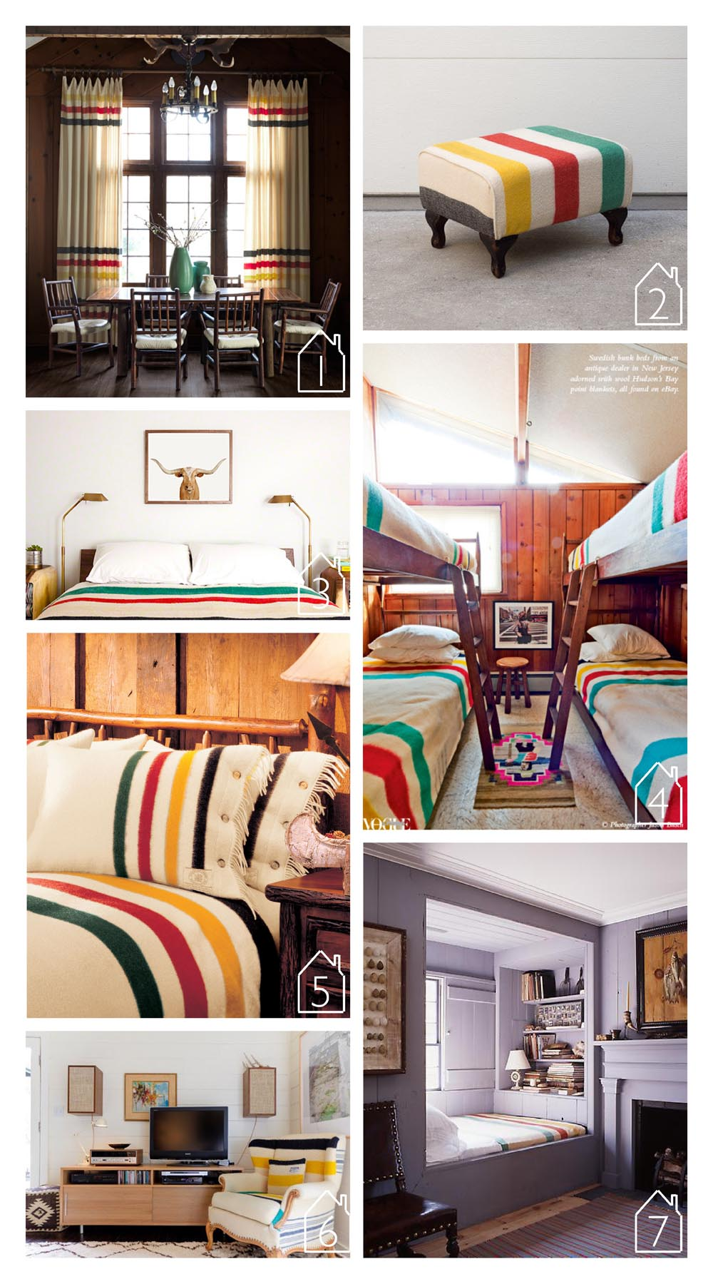 1. home of Mark and Linda Heister featured in Country Living  2. custom hudson bay ottoman by HomesteadSeattle via Etsy  3. room featured on The Animal Print Shop  4. hampton's beach house of Richard Christiansen via  Vogue Living   5. capote pillow shams via Woolrich  6. home of Pietsie Campbell and Stephen Hootstein via Apartment Therapy  7. via REMODELISTA