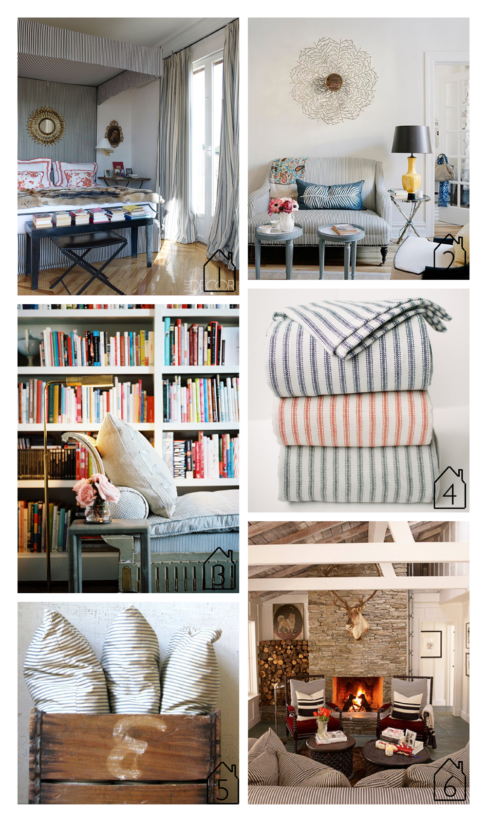 1. bedroom of Carolina Herrera via  Elle Decor   2. via  The Little House in the City blog   3. daybed via  Lonny   4. ticking stripe wool blankets from  Faribault Woolen Mill Co.    5. ticking stripe pillows via  Etsy   6. classic cottage designed by  Ken Fulk  via  House Beautiful