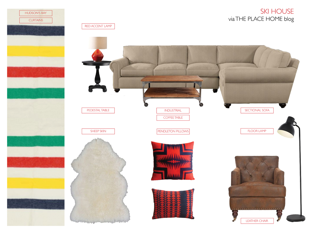 hudson's bay  blankets as curtains by  Woolrich  -  red accent lamp  by  West Elm  -  pedestal table  by  Crate and Barrel  -  industrial coffee table  by  World Market  -  sectional sofa  by  Restoration Hardware  -  Pendleton pillows  via  Etsy  - leather chair via Target - hektar floor lamp  via  IKEA