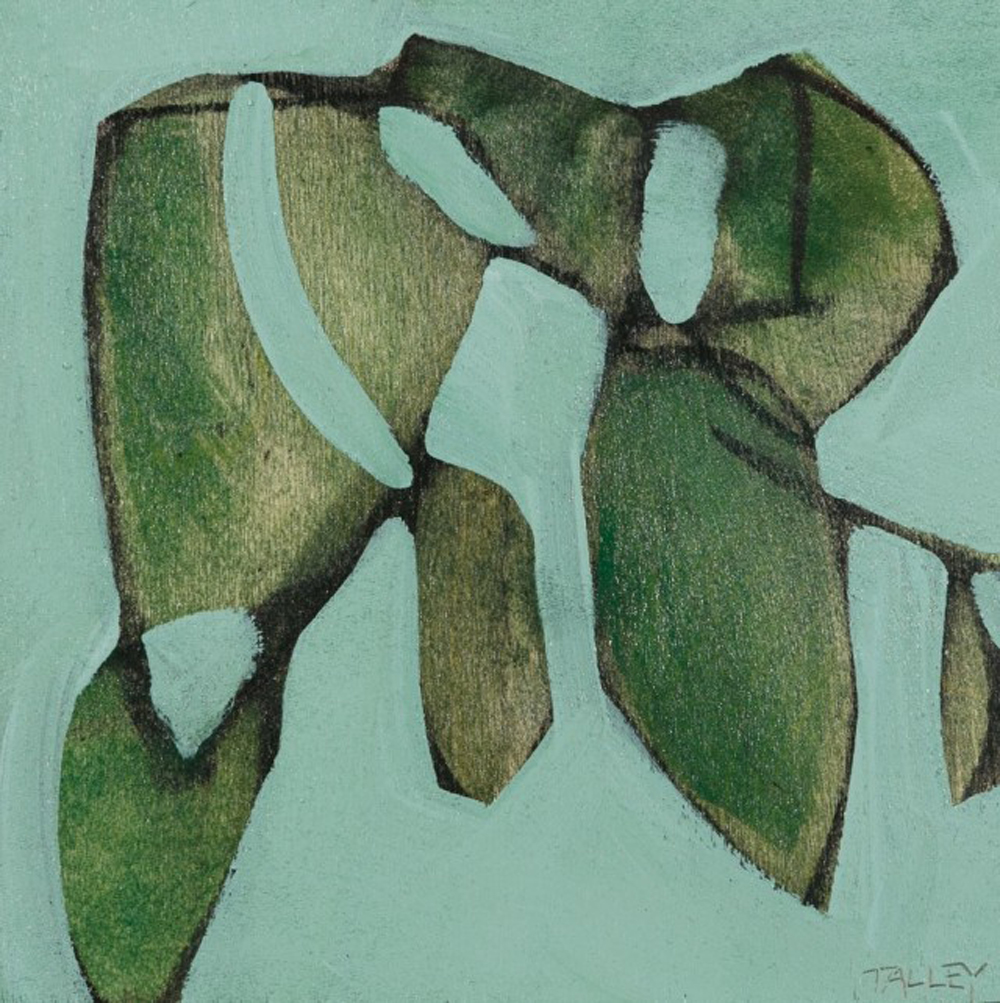 Mint Angles IV - Amanda Talley - mixed media on birch panel - 2013