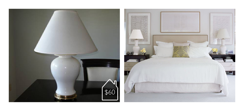 white lamps via Craigslist and Architectural Digest