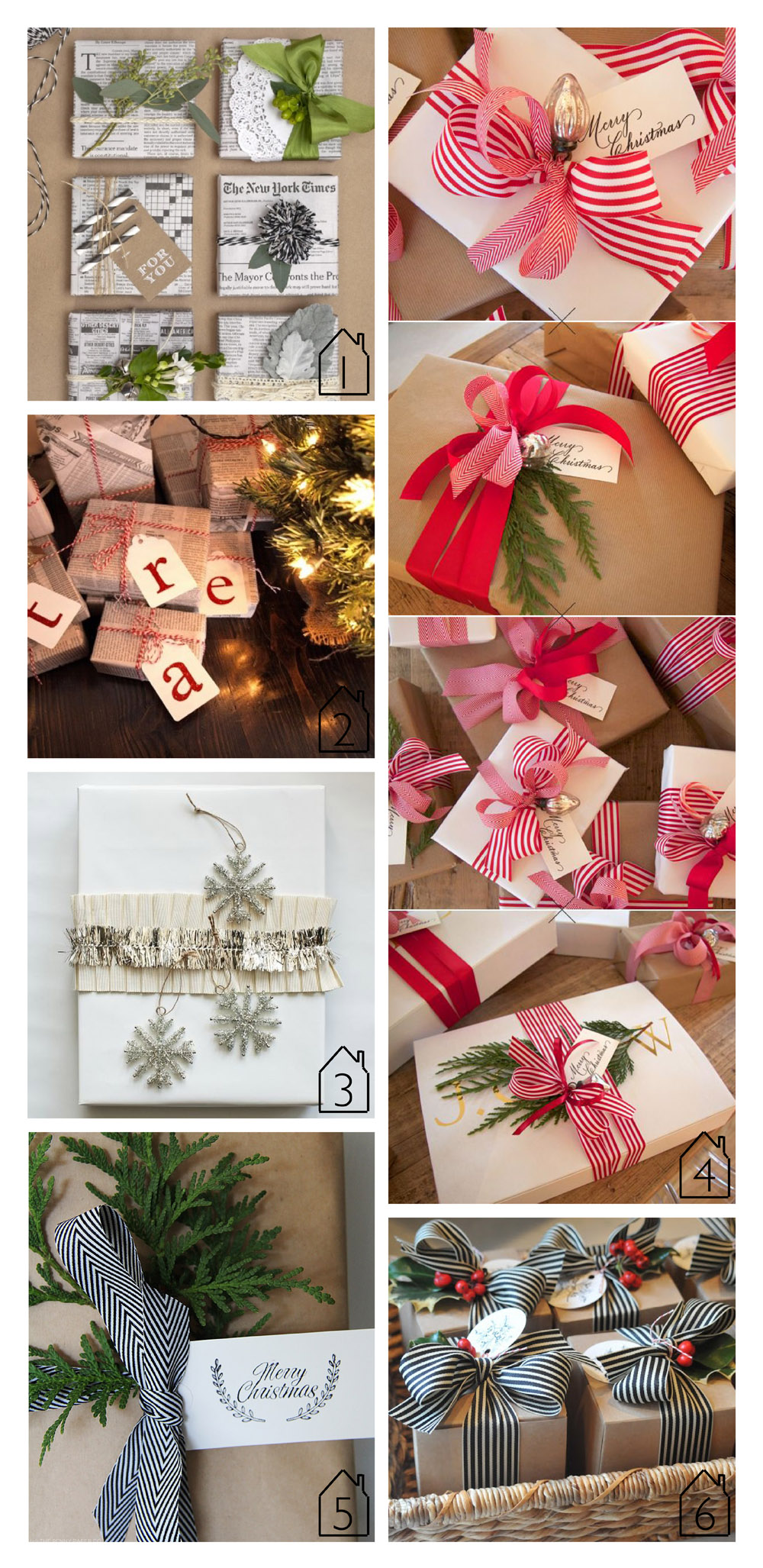 1. newsprint wrapping source unknown  2. newsprint wrapping source unknown  3. snowflake wrapping via Martha Stewar  4. kraft paper and red ribbon via H2 Design  5. kraft with black and white via The Penny Paper Co.  6. holly wrapping via Nine + Sixteen