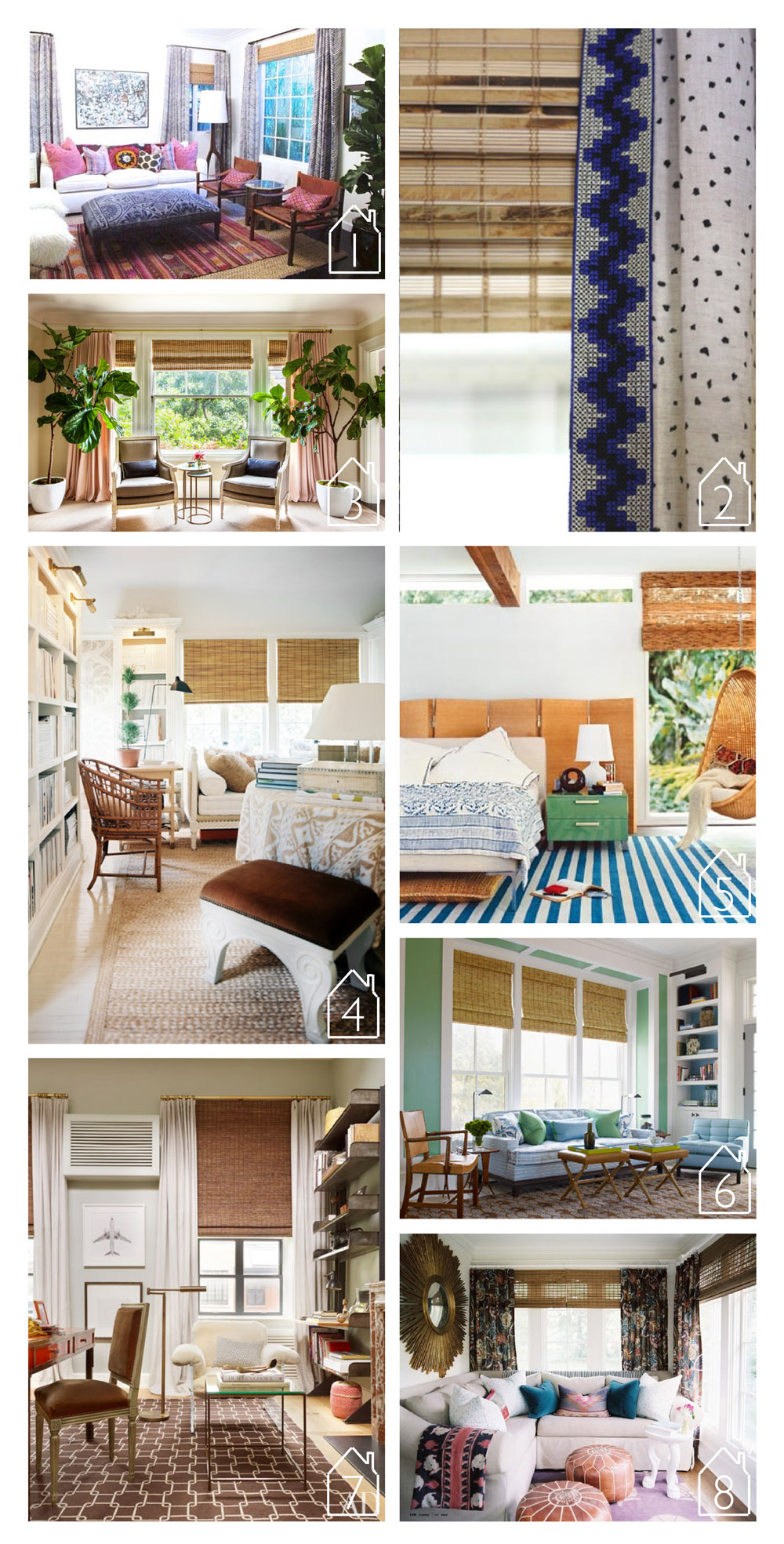 1.  Shea McGee Design   2.source unknown  3. via  Lonny  design by  Chloe Warner   4. via  Lonny  design by  Mark D. Sikes   5. home of Ione Skye featured in  Domino   6. via  House Beautiful  design by  Steven Gambrel   7. Nate Berkus' duplex featured in  Architectural Digest   8. home of  Jamie Meares  featured in  Lonny