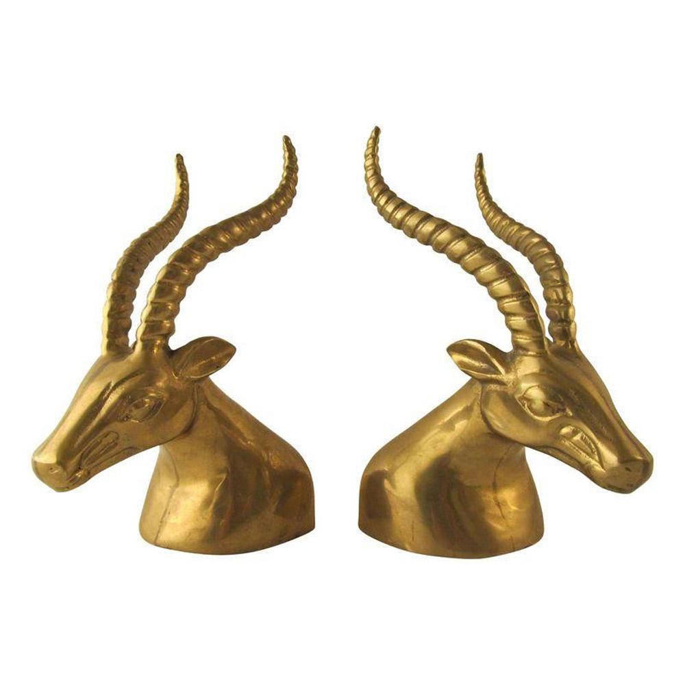Brass Gazelle Bookends - $295